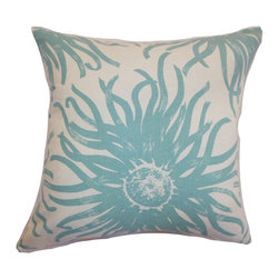 PILLOW COLLECTION INC - Ndele Floral Down Filled Throw Pillow Aqua - Make your bedroom or living room a place for relaxation and pampering by adding this plush throw pillow. This accent pillow features a charming floral pattern in shades of aqua blue and white.