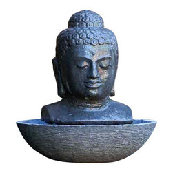 Buddha Head Fountain-Lava Stone - Let this hand-carved solid lava stone Buddha fountain bring a Zen-like sense of peace to your garden or patio. You'll relax to the sound of gently flowing water under the Buddha's serene gaze.
