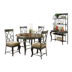 Steve Silver Co. - Hamlyn Marble Top Dining Table Set, 6 Pieces - Includes: 1 Table, 4 Charis & 1 Bakers rack. Wavy panels and decorative curved legs. Earth tone inspired marble top. Bakers rack features wine glass & bottle storage. Pewter finish. Contemporary style. Sturdy gauge metal construction. Select hardwood solids material. Some assembly required. Durable beige chenille seat cushion.
