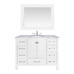 Stufurhome - 48-inch Malibu Pure White Single Sink Bathroom Vanity Cabinet With 47-inch Mirro - An ideal complement to a contemporary decor,the 48-inch Malibu Single Sink Vanity embodies the clean edges and sophistication of modern design. The pure white cabinet,made of solid oak lends a cozy feeling to your bathroom.