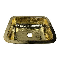 "Nantucket Sinks - Nantucket Sink reb - 17"" Hammered brass Rectangle Undermount Bathroom sink - An exclusive design, this Hand Hammered brass Bathroom Sink is designed to be over or undermounted. This sink will naturally patina if left untreated."