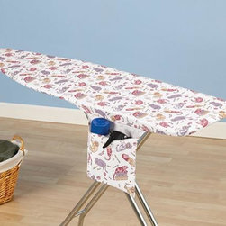 """Home Decorators Collection - Kool Kats Ironing Board Cover and Pad - For the cat lovers, our ironing board cover and pad is the perfect choice. With a tailored nose and bungee cord binding, the cover will fit securely. The cover also includes a hidden storage pocket. Cover is made of 100% cotton. Includes thick fiber pad. Economically friendly, scorch and stain resistant and repels water and dirt due to its Nanomax™ technology. Three-year guarantee. Fits standard size 53-54""""W x 13-15""""D ironing board tops."""