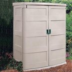 Suncast 4.5 x 3 ft. Tool Shed - Dimensions:Exterior dimensions: 4.58W x 3.08D x 6H feetInterior dimensions: 4.08W x 2.67D x 5.58H feetDoor dimensions: 4.10W x 5.54H feetThe Suncast 4.5 x 2 Foot Vertical Garden Shed features a 60 cubic foot storage capacity to store your lawn mower and all your gardening tools and accessories. Constructed of a durable weather-resistant resin this shed is built to withstand the harshest elements and stay dry at all times. A padlock hasp secures the doors to ensure your property is safe. With built-in shelf supports for a wood shelf this shed allows you to create the perfect storage area to suit your needs. The attractive taupe color adds to its appeal. Easy assembly guarantees that this shed is ready to use soon after you remove it from the box.About Suncast CorporationSuncast is known for its high-quality low-maintenance storage products and accessories. Organize gardens back yards garages basements and more. Suncast's full line of products includes everything from storage lockers to sheds and bins. Suncast pieces are designed for low-maintenance worry-free performance that's versatile enough to suit your every need.