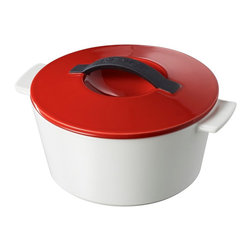 """Revol - Revol Revolution Line 7.5"""" Round Cocotte with Lid, Pepper Red - Just say no to heavy metal. These remarkable new cocottes are created with a truly revolutionary process that ensures you have the most natural cookware possible, without metals or chemical elements that can seep into your food. And speaking of metals, your new cocotte is just half the weight of cast iron."""