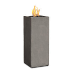 Real Flame - Baltic Fire Column, Glacier Gray - Define your outdoor space with the clean design of a Real Flame Baltic Fire Column. Cast from a high performance, lightweight fiber-concrete with an outdoor safe finish, this fire column comes complete with lava rock filler, and a matching lid for when the burner is not in use. Also features a cleverly hidden, removable door to access the internally stored fuel tank. All Real Flame propane products carry a CSA Certification and feature an electronic ignition. Collection available in Glacier Gray or Kodiak Brown finishes.-Burns Liquid Propane, rated at up to 10,000 BTUs of heat
