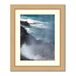 """Frames By Mail - Wall Picture Frame natural wood tone ribbed frame with acid-free white matte, 8x - This 8X 10 2"""" wide natural wood tone ribbed frame is imported from Italy. The white matte can be removed to accommodate a larger picture.  The frame includes regular plexi-glass (.098 thickness) foam core backing and can hang either horizontal or vertical."""