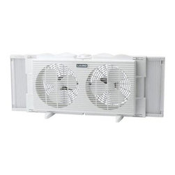 """Lasko Products - 7"""" Twin Window Fan 2 Speed - 7"""" Twin Window Fan with white finish; Slim profile to maintain outside view; Two quiet, energy-efficient speeds; Can be positioned for air intake or exhaust; Expander panels for a custom fit; Fits windows from 22"""" to 34"""" wide;  Fully assembled for window use (snap-on feet included for table or floor use); Includes a patented, fused safety plug; E.T.L. listed; 21-3/4"""" L x 4-3/4"""" W x 10-1/2"""" H"""