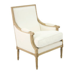 Zentique - Louis Club Chair - White, Natural - Expertly carved wood detail gives this classic chair a rich look. Choose from three different fabric and wood finish colors for the perfect combination. The antique design will bring an elegant feeling to your home.
