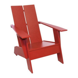 "Loll Designs - Kids Adirondack Chair by Loll Designs - Classic Adirondack style, shrunk down to kids' size. The Loll Designs Kids Adirondack Chair is strong, durable and easy to keep clean both indoors and out. It is made out of thick and smooth panels made of 100% recycled HDPE, taken mostly from milk jugs. Loll Designs creates ""outdoor furniture for the modern lollygagger."" Founded in 2003, Loll specializes in the use of recycled materials (primarily plastic milk jugs) to create their long-lasting, low-maintenance and, of course, super-stylish outdoor chairs, tables, benches and other outdoor furnishings. All Loll products are designed and made in Duluth, Minnesota."