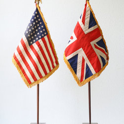Vintage Flag Set, US and British Union Jack Flags by Bellalulu Vintage - Accessories and doodads speak volumes about the people that live in a home, so you should always be on the lookout for unique vintage pieces that you love. I love these tiny flags and would put them on a table or mantel.