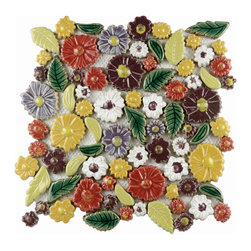 None - SomerTile Bloom Perennial 11.75x11.75-in Hand-Painted Ceramic Wall Tile (Case of - Add a rustic bloom of color to your home with these gorgeous hand-painted Bloom Perennial tiles. These whimsical mesh mount tiles are made of Grade 1 ceramic and feature an array of stunning florals and leaves.