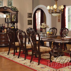Acme Furniture - Cherry Finish Double Pedestal Dining Table - 10295A - Select hardwood solids and veneers