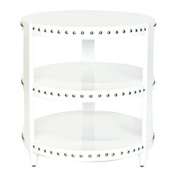 Worlds Away - Worlds Away 3-Tier White Lacquer Nickel Studded Side Table NORA WH - Worlds Away 3-Tier White Lacquer Nickel Studded Side Table. NORA WH