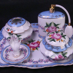 AA Importing - Lady's Dresser Accessory Set in Blue - Hand-painted porcelain. Set includes atomizer, ring holder, covered jar and hair receiver. Atomizer: 5.5 in.H. Ring holder: 3.5 in. H. Covered jar: 4.5 in. Dia.. Hair receiver: 4.5 in. Dia.