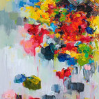 Siiso - Flower on Wall 02 - Dark and light colors mix, like sun and rain, and bright abstract flowers bloom forth. Vividly reproduced in a high-quality giclee print with professional ink that lasts up to 200 years, Yangyang Pan's contemporary painting stays as fresh as a wet spring morning on your wall.