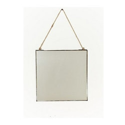 "Anthropologie - Admiral Hanging Mirror - Iron, glass, cotton juteRectangle: 16""H, 10""WSmall square: 8"" squareLarge square: 10"" squareImported"