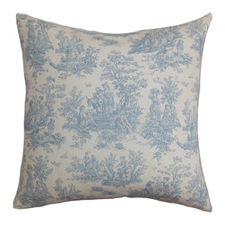 The Pillow Collection - Lalibela Blue 18 x 18 Toile Throw Pillow - - Pillows have hidden zippers for easy removal and cleaning  - Reversible pillow with same fabric on both sides  - Comes standard with a 5/95 feather blend pillow insert  - All four sides have a clean knife-edge finish  - Pillow insert is 19 x 19 to ensure a tight and generous fit  - Cover and insert made in the USA  - Spot clean and Dry cleaning recommended  - Fill Material: 5/95 down feather blend The Pillow Collection - P18-PP-JAMESTOWN-BABYBLUE-C100