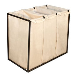 Bagstand - Triple Bronze Hamper with Cotton Bags - Our Bagstand laundry hamper holds the laundry bags upright allowing them to expand to their full capacity. The laundry bags are removable for trips to the cleaners or laundry room. The specially designed clip locking mechanisms secure the bags to the Bag Stand frame. The weight of the clothes rests firmly on the floor, so the stand will not tilt regardless of how full it may get. The design is simple but elegant, perfect for a range of decor from traditional to modern.