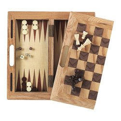 FatCat - Deluxe 3 In 1 Wood Game Set - Surfaces for chess, checkers, and backgammon. Folds in half for easy storage. Convenient carrying handle. 2 cups and dice included. Chess, checker, and backgammon pieces included. Instructions included. Case: 16 in. L x 16 in. W x 1 in. H (Open). 90 days WarrantyGet your money's worth when you buy the 3-in-1 wood game set. The game includes chess, checkers and backgammon, so you can switch up games at your convenience without having to pull out 3 different games. Includes all the playing pieces to enjoy hours of stimulating fun.
