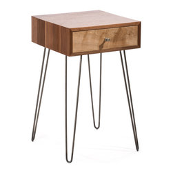 Kingston Krafts - Newton Nightstand, Walnut/Maple - Inspired by mid century modern design, our Newton nightstand introduces both industrial and modern elements. A solid black walnut case and natural maple drawer front make a transitional statement. Paired with classic mid century hairpin legs from American steel proudly made in Providence, RI.