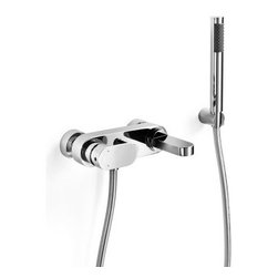 WS Bath Collections Muci 54247 Wall Mounted Roman Tub Faucet Trim - The WS Bath Collections Muci 54247 Wall-Mounted Roman Tub Faucet Trim comes with a matching hand shower and built-in diverter. This faucet is a shower mixer design that channels both hot and cold water so you can achieve the ideal temperature for maximum comfort. Its sleek modern structure features a flush lever handle and a straight flat-top spout that extends out from the base of the wall mount. Made in Italy the WS Bath Collections Muci 54247 Wall-Mounted Roman Tub Faucet Trim is constructed from solid brass for long lasting durability and coated in a polished chrome finish that is both tarnish- and corrosion resistant. This piece coordinates beautifully with other selections from the Muci Collection and is backed by the manufacturer's 1 year warranty. About WS Bath CollectionsA tradition of fine handcraftsmanship warmth of material and beauty of design characterizes this company's exclusive collection of fine bathroom and kitchen products. The collections include innovative and distinctive sinks washbasins washstands bathtubs bathroom furniture and complementary accessories that provide inspirational solutions for every imaginable decor.