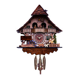 RIVER CITY CLOCKS - One Day Musical Black Forest Cuckoo Clock with Dancers, Waterwheel, and Girl on - This chalet style German cuckoo clock features wooden hands, a wood dial with Roman numerals, and a warm light yellow hand-painted and hand-carved cuckoo bird. On every hour and half-hour the girl rocks back and forth on her rocking horse and the waterwheel turns. The dancers revolve on their platform every hour and half-hour. This clock also plays music on the hour & half-hour alternating between two different twenty-two note melodies: Edelweiss & The Happy Wanderer. Three cast iron pine cone weights are suspended beneath the clock case by three separate brass chains.    The hand-carved pendulum continously swings back and forth which controls the timing of the clock.     If your cuckoo clock's timing should ever need adjustment, you can control the speed of your clock by sliding the shield up or down the pendulum stick. Sliding the shield down causes the cuckoo clock to run slightly slower, while sliding the shield up makes the cuckoo clock run slightly faster.    On every hour the cuckoo bird emerges from a swinging door above the clock dial and counts the hour by cuckooing once per hour. (Example: At one o'clock the bird will cuckoo once. At eight o'clock the bird will cuckoo eight times) The half hour is announced with one cuckoo call. There is a sound shut-off device beneath the base of the cuckoo clock. Pushing the lever up disables the cuckoo birds cuckoo and the music. Pulling the lever down enables the cuckoo clock to play the music and cuckoo call.    The 30 hour all brass mechanical Regula movement, which is produced in the Black Forest of Germany, is wound once per day by raising the three pine cone weights. One weight powers the time, one weight powers the music, and the other weight powers the cuckoo bird and cuckoo call.        *Great effort has been made to portray each cuckoo clock as accurately as possible. As with many handmade items, the exact coloration and carving may vary slightly from clock to clock. We consider this to be a special part of their character.   This clock is covered by a two year limited warranty covering workmanship and manufacturers defects.