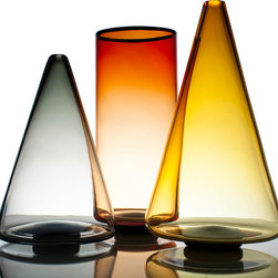 Ombre Glass Series - Set of 3 - From the Ombre Series. Crafted using traditional glass blowing methods. Timeless accent for home or office. Color of glass deepens from base to top of cone, for a look that is elegant and pronounced.