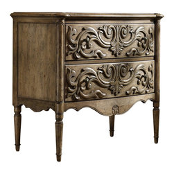 Hooker Furniture - Two Drawer Carved Front Chest - White glove, in-home delivery included!  Add finesse to your room with the Two Drawer Carved Front Chest.  Crafted from rubberwood solids with pecan and hickory veneers and resin, this chest features two drawers.