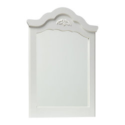 Standard Furniture - Standard Furniture Daphne Arched Mirror in White - Daphne's soft white finish, curvy feminine shapes and delicate floral ornaments makes this charming Victorian cottage group perfect for every little girl's dream room.