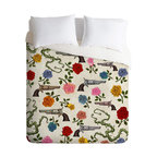 DENY Designs - Belle13 Sweet Guns And Roses Duvet Cover - Turn your basic, boring down comforter into the super stylish focal point of your bedroom. Our Luxe Duvet is made from a heavy-weight luxurious woven polyester with a 50% cotton/50% polyester cream bottom. It also includes a hidden zipper with interior corner ties to secure your comforter. It's comfy, fade-resistant, and custom printed for each and every customer.