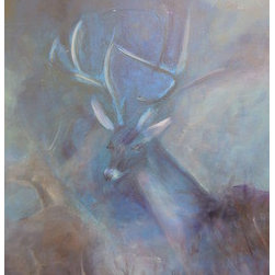 Night Deer (Original) by Linda Mccarthy - Sometimes while painting an abstract or background for a painting an image appears and I follow the form.  This happened with Night Deer.  Suddenly the deer started to appear in the center of the painting.