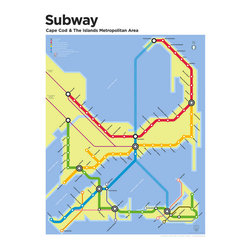 Cape Cod Subway Map - When would it ever make sense for Cape Cod to have public transit system connecting it to Nantucket and Martha's Vineyard? It does, however, make for good wall decor and humorous dinner party discussion.