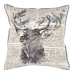 Surya Rugs - Wildlife 18 x 18 Pillow - A mighty buck is the centerpiece of this pillow with lovely birds perched on his antlers. They have a backdrop of text. Colors of khaki coal black cloud blue and dark slate blue accent this decorative pillow. This pillow contains a poly fill and a zipper closure. Add this pillow to your collection today.  - Includes one poly-fiber filled insert and one pillow cover.   - Pillow cover material: 100% Polyester Surya Rugs - HH116-1818P