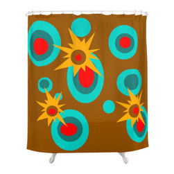 Crash Pad Designs - Crash Pad Designs Funky Shower Curtain - Elmer - Pop, bang! This shower curtain explodes with color, and will provide so much vibrancy to your decor. The brilliant mod pattern is printed on 100 percent polyester, which features 12-stitched button holes for hanging. Add verve to your bathroom with this stunning curtain.