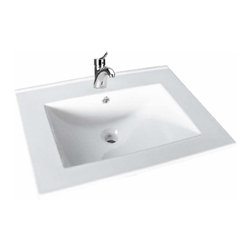 Renovators Supply - Drop In Bowls White China Luke Self-rimming Drop in Bowl 23 5/8 W | 20336 - Drop-in Sinks: Made of Grade A vitreous China these sinks endure daily wear and tear. Our protective RENO-GLOSS finish resists common household stains and makes it an EASY CLEAN wipe-off surface. Ergonomic and elegant easy reach design reduces daily strain placed on your body. SPACE-SAVING design maximizes limited bathroom space. Easy, drop-in installation let's you select from many countertop designs, sold separately. Accepts single hole faucet, sold separately. Measures 23 5/8 W x 18 5/16 projection and is 3/8 inch thick.