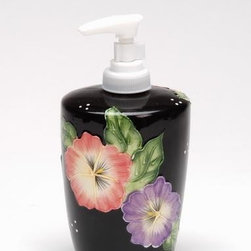 ATD - Black Porcelain Soap Pump Dispenser with Colorful Floral Finish - This gorgeous Black Porcelain Soap Pump Dispenser with Colorful Floral Finish has the finest details and highest quality you will find anywhere! Black Porcelain Soap Pump Dispenser with Colorful Floral Finish is truly remarkable.