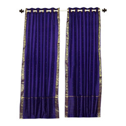Indian Selections - Purple Ring Top  Sheer Sari Curtain / Drape / Panel   - 43W x 63L - Piece - Size of each curtain: 43 Inches wide X 63 Inches drop.  Made from Polyester Sari fabric  Top: 2 Inch Ring Top. Can accommodate rods up to 1.5 inches diameter  Machine Wash