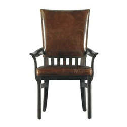 Stanley Modern Craftsman Morris School Arm Chair Mink 955-11-75 - For the purpose of sitting at the dinner table and enjoying a meal and good company, the Stanley Modern Craftsman Morris School Arm Chair Mink 955-11-75 is sure to satisfy. True early 19th century looks make this chair an instant classic. The slat back frame and sleek legs are finished in a luxurious mink, and perfectly compliment the hand-selected aniline-dyed leather. The upholstered back and double padded box pleat seat are individually tacked with a row of custom-forged nailheads. If you're looking for quality and attention to detail, you've found it here.The Modern Craftsman CollectionEmbrace austerity with Stanley Furnitureís Modern Craftsman collection, a stellar combination of Mission style, Arts and Crafts detailing, and mid-century-modern influence. The collection celebrates hand-craftsmanship with exposed joinery and stretcher motifs, while the modern industrial hardware continues the dedication to subdued elegance. Crafted of veneers, this collection draws character from burnished corners, rub-through trimmings, and natural cow-tailing.Stanley Furniture Craftsmanship Stanley Furniture's main objective is to produce quality and stylish furniture by using the best wood materials, construction procedures, and elegant finishes on their products to help you fashion your home decor the way you imagined. All of their furniture is hand-crafted from quality woods, incorporating other superior materials such as aluminum, glass, plastic, leather, and marble. Every joint is carefully constructed (keeping wood's sensitivity to heat and humidity in mind) allowing for expansion and contraction. All joints are held together with glue and nail. Stanley's 30-step finishing process starts with an undertone stain that is applied to a hand-sanded piece. Next, the stain is sealed with a wash coat, then hand sanded again with filler applied to pack the wood pores and smooth out the surface. A sealer coat is then applied, the piece is hand sanded again, and hand padded to mellow the tone. From there, a luster glaze is rubbed on by hand, followed by antiquing or distressing also done by hand. Finally, after drying, each piece is hand waxed and rubbed prior to final inspection.About Stanley FurnitureSince 1924, the goal of the Stanley Furniture Company has been to manufacture high quality furniture at a price the average American family could afford. To accomplish this goal, founder Thomas Bahnson Stanley surrounded himself with the finest furniture craftsmen and instilled in them a sense of pride in building superb quality into every piece of Stanley Furniture. Today, that pride is shared by more than 1,750 dedicated associates who have made Stanley Furniture one of the largest, most respected furniture manufacturers in the nation.