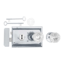 """Renovators Supply - Rim Locks Chrome Plated/Glass Knob Rim Lock 4.88"""" L x 3.25"""" H - This traditional Rim Latch easily mounts to a door surface and is reversible. Comes complete with skeleton keys, escutcheon, keeper, 2 knobs, 1 interior brass rose, spindle, and mounting screws. Measures 4"""" h x 6 1/8"""" l. latch proj. 7/16"""". See below for a variety of antique Rim Latch finishes and knob combinations."""