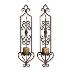 Uttermost - Privas Metal Wall Sconces, Set of 2 - Wall sculptures can be the most decorative art in your space. This one is more than decorative. It's functional. The hand-forged metal is finished in a mahogany rust and olive bronze, adding age and interest. The functional part? They're candleholders. And the candles are included.