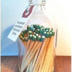 Reclaimed Apothecary Matchstick Bottle - Old fashioned matches are so cute – why not show them off in a reclaimed apothecary matchstick bottle? The bottom of the bottle is a match strike pad.