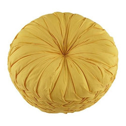 Ruched Throw Pillow, Yellow - This ruched pillow has a retro feel, and I adore the braid detail on the side.