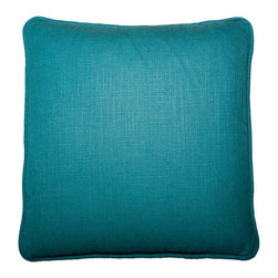 Designer Fluff - Jade Linen Pillow, 18x18 - Sometimes you simply need a solid. But note how the weave of this handmade pillow's designer fabric, imported from India, adds just enough texture to amp the appeal.