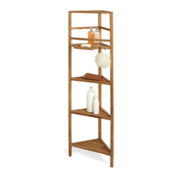 "59"" Teak Corner Bathroom Shelf - Crafted of beautiful honey-hued wood, 59"" Teak Corner Bathroom Shelf consists of triangular shelves, one with a convenient soap holder."