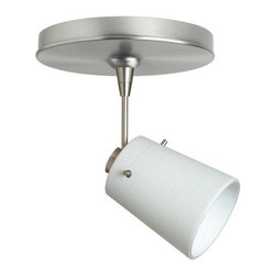 """Besa Lighting - Besa Lighting 1SP-5118KR Tammi MR16 Halogen Spot Light - Tammi 3 features a tapered drum shape, open at the top, that fits beautifully in transitional spaces. Our Chalk glass is a soft white opal cased glass that is handcrafted with spiraling strokes of off-white color, emphasizing the subtle brush pattern. The silvery rippled design is subdued and harmonious. Unlit, it appears as simply a textured surface like spun silk, but when lit the texture comes alive. The smooth satin finish on the clear outer layer is a result of an extensive etching process, with the texture of the subtle brushing. This blown glass is handcrafted by a skilled artisan, utilizing century-old techniques passed down from generation to generation. The 12V spotlight fixture is equipped with a 1.5"""" long stem, swivel lampholder, quick connect jack, and a low profile flat monopoint canopy.Features:"""