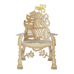 Cricket Forge - Cat Chair - For the cat lover in all of us, this chair is a unique and creative way to showcase your passion. Mixed with a touch of humor and a few surprises, the Cat Chair is a loveable piece of furniture both indoors and out. Hand painted in our tabby tan, with beautifully rendered shadows and highlights and accented with a bright yellow bird.  Available as a Chair or as a Rocker