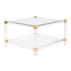 French Vintage Lucite, Brass and Glass Coffee Table