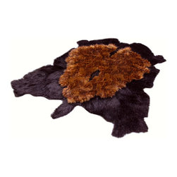 Fur Accents - Fur Accents Pelt Rug / Faux Fur Double Bear Skin / Unique Designer Carpet, 5x8 - A Truly Original Animal Themed Accent Rug. Rich and Silky Soft Faux Animal Pelt Carpet. Black Fur with Layered Brown Tone Fur Center. This is a Unique and Exclusive Fur Accents Design. Made from 100% Animal Free and Eco Friendly Fibers. Perfect for that special place. Supple Fur Layered and lined with fine parchment Ultra Suede. Luxury, Quality and Unique Style suitable for the most discriminating Designer / Decorator.