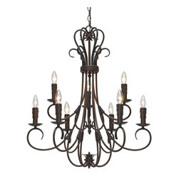 Golden Lighting - Homestead 9-Light Candelabra Chandelier - Off the piano and onto the ceiling, this fantastic chandelier celebrates the old-world elegance of a candelabra display. The candle-shaped fixtures bring a sense of romance to your space.