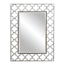 Howard Elliott - Gaelic Nickel Mirror - Our lucky Gaelic Mirror is finished in a brushed nickel and features an open cut work clover-shaped frame.